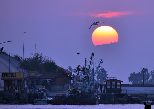 Sunset over the port of Kusadasi, Turkey 392.