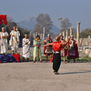 The Roman ruins at Ephesus, Turkey. Juggler and other re-enactors.