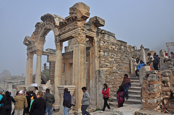 The Roman ruins at Ephesus, Turkey 192. Temple of Hadrian on Curetes Street.