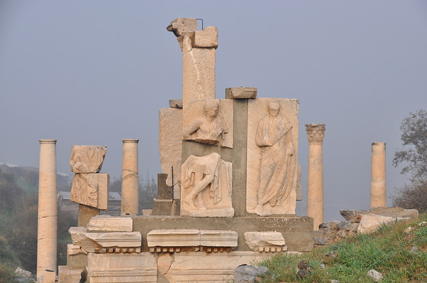 The Roman ruins at Ephesus, Turkey. View of the monument of Memmius located on the north side of Domitian Square. Dating from the 1st century AD during the reign of Augustus, the moment was erected in honour of Caius Memmius, grandson of the Cornelius Sulla, the dictator. The upper section shows a series of statues portraying members of the Memmius family.