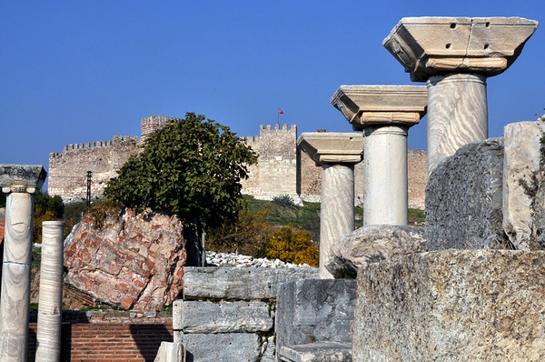 Basilica of St. John, Ephesus, Turkey, below the 6th century Byzantine citadel fortress.