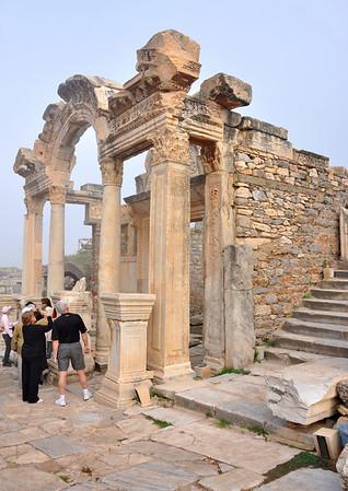 The Roman ruins at Ephesus, Turkey. Temple of Hadrian on Curetes Street.
