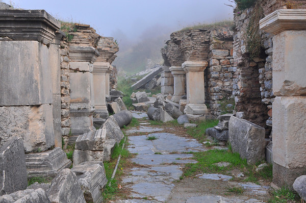 The Roman ruins at Ephesus, Turkey. A side street.