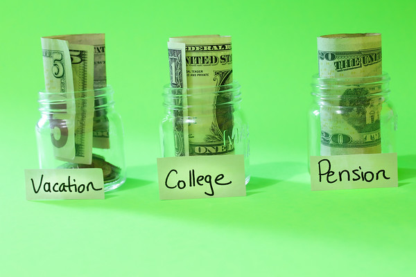 Saving Money on a Green Background