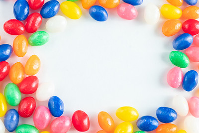 Colorful Jellybean Border on a White Background