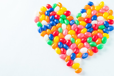 Colorful Jellybean Heart on a White Background