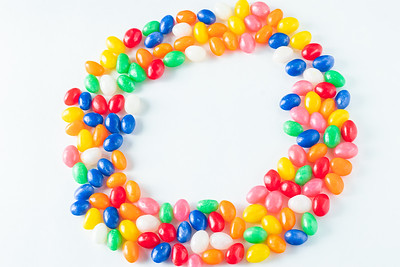 Colorful Jellybean Circle on a White Background