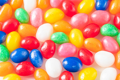 Macro Colorful Jellybeans on a White Background