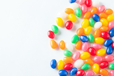 Colorful Jellybeans on a White Background