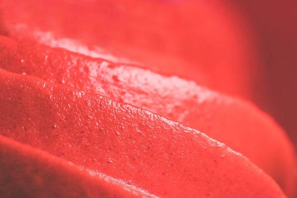 Macro Red Frosting on a Cupcake