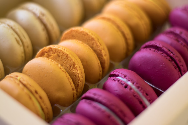 Closeup of Colorful macaroons in a box