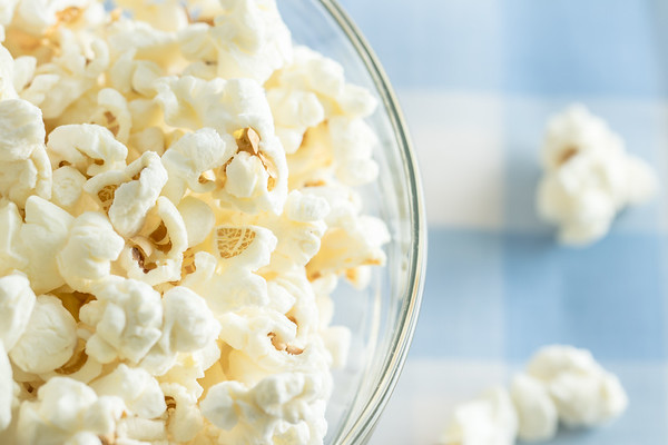 Overhead Angle of Popcorn in a Bowl