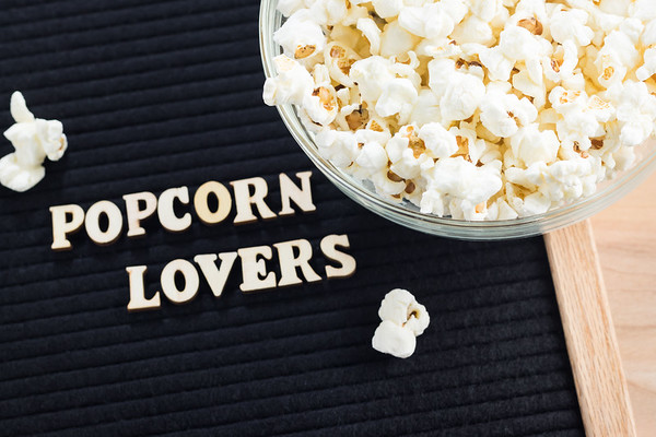 Popcorn Lovers Text on a Letterboard