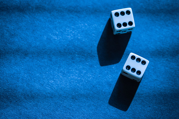 Dice on a Blue Background