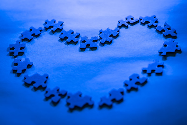 Blue Heart Made From Puzzle Pieces