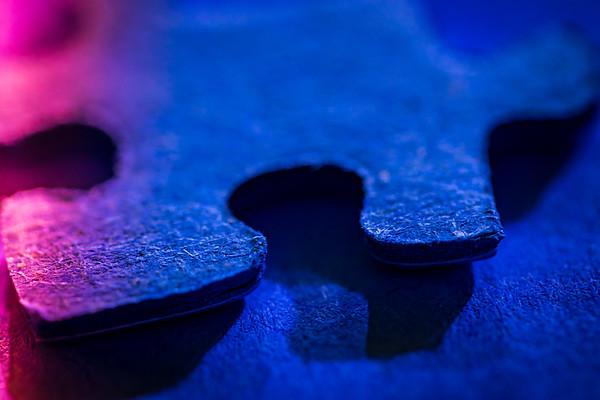 Macro Blue Puzzle Piece