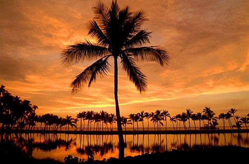 sunset at Anaehoomalu, Kona Coast, Big Island of Hawaii
