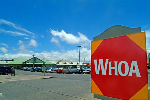Stop signs say whoa at Parker Ranch shopping center in Waimea, cowboy country, Big Island of Hawaii