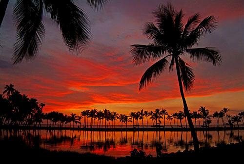 Anaehoomalu sunset, Kona, Big Island of Hawaii