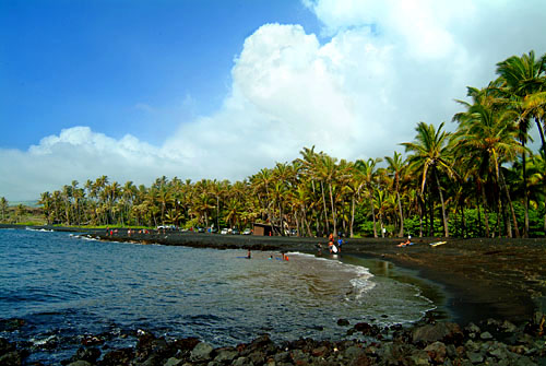 Punaluu black sand beach, Puna. Big Island of Hawaii