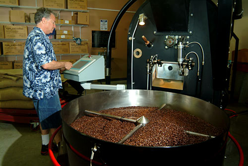 cooling roasted coffee beans, Kona Joe's, Big Island of Hawaii