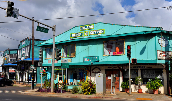 Colorful storefronts, town of Kapa'a, Kauai