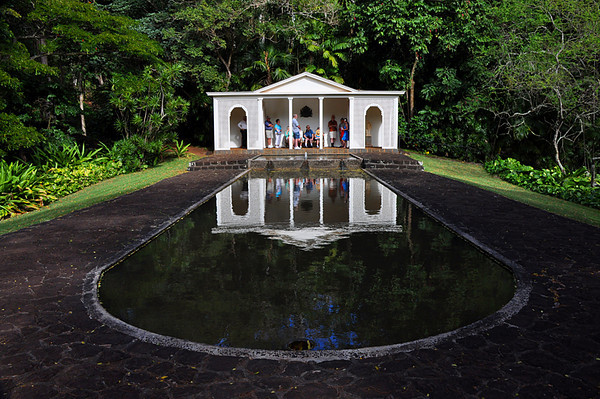 Visitors at the reflecting pool and gazebo, Allerton Garden, National Tropical Botanical Garden (NTBG), Kauai