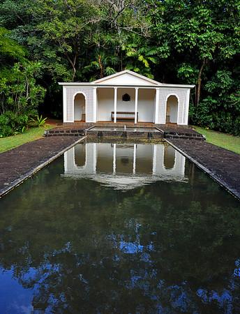reflecting pool and gazebo, Allerton Garden, National Tropical Botanical Garden (NTBG), Kauai