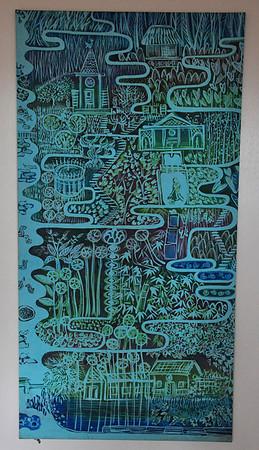 Main house, art map of garden, Allerton Garden, National Tropical Botanical Garden (NTBG), Kauai