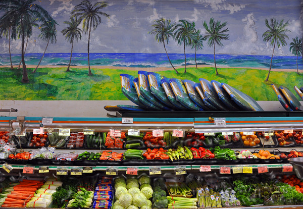 boogie boards, ocean, palm tree scene, vegetables, grocery store, Old Koloa Town, Kauai