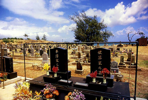 Graveyard at Buddhist temple on the outskirts of Paia, Maui.