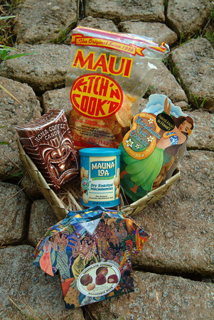 Made-in-Maui specialty treats: Maui potato chips, chocolates and macadamia nuts on a pathway at the Ritz Carlton, Maui