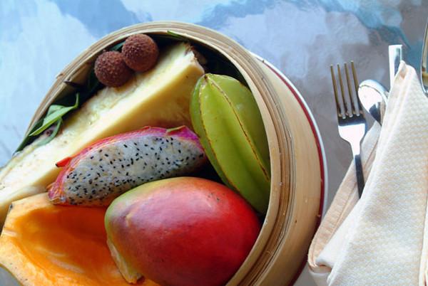 tropical fruit on the Ritz Carlton's lanai