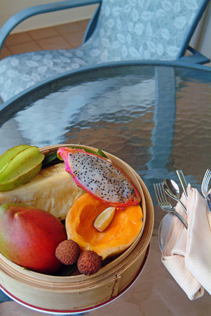 tropical fruit on the Ritz Carlton's lanai