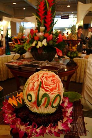 """Aloha"" carved melon, Kapalua Wine & Food Festival, Maui"
