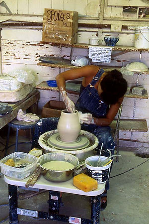 Spinning pots at Hui No'eau Visual Arts Center, Upcountry, Maui