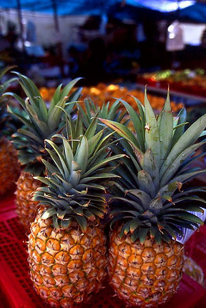 Pineapples at an outdoor market in Wailuku, Maui.