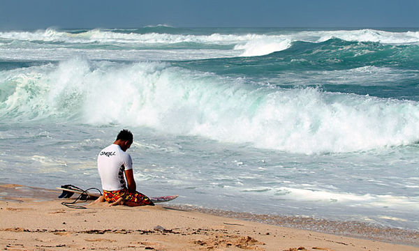 Surfer preparing for his ride -- O'Neill Pro, Vans Triple Crown of Surfing, Sunset Beach, North Shore, Oahu.