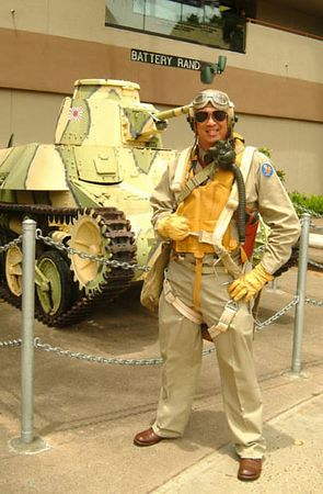 pilot - Reenactor dressed in authentic WWII outfit, Living History Day, Ft. DeRussy, Waikiki.