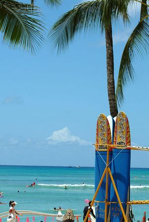 Surfboards at Waikiki Beach