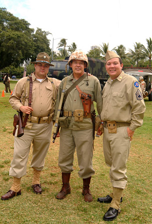 Army - Reenactors dressed in authentic WWII outfits, Living History Day, Ft. DeRussy, Waikiki.