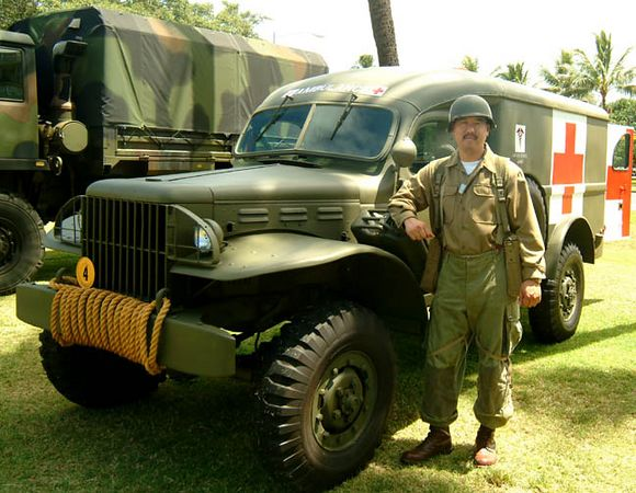 medic - Reenactor dressed in authentic WWII outfit, Living History Day, Ft. DeRussy, Waikiki.