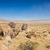 Panoramic View of Stones in Sand Desert