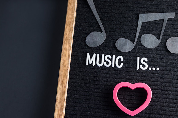 Music Is Love Text on a Letterboard