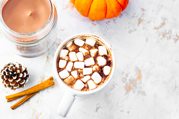 Overhead Angle of Hot Chocolate on a Marble Background