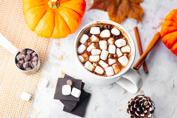 Hot Chocolate on a Marble Background