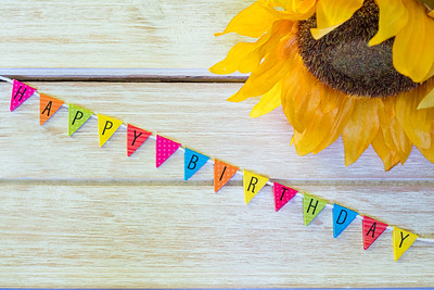Happy Birthday Abstract Wood Background with frame and flowers