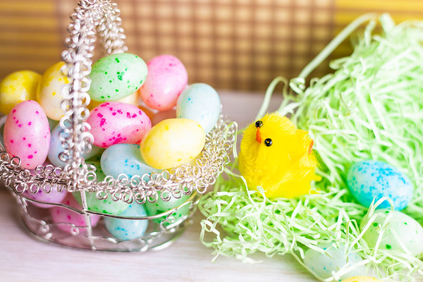 Easter Chick and Colorful Jelly Beans