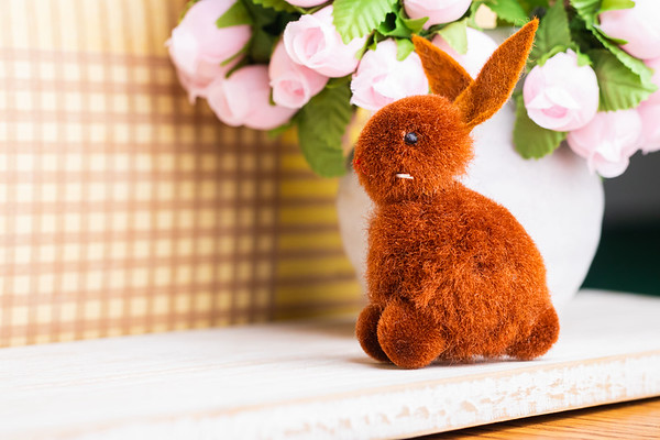 Brown Easter Bunny and Decorations