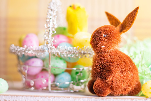 Brown Easter Bunny and Basket of Jelly Beans